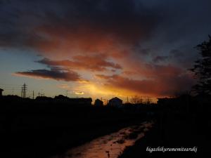 落合川の夕焼け